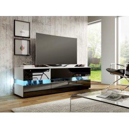 MORAVIA FLAT TV stolek INTER, bílá/černý lesk