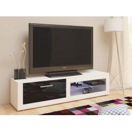 TV stolek VIKI NEW, bílá/černý lesk