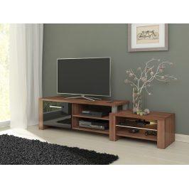 MORAVIA FLAT TV stolek ORION, švestka wallis/černý lesk