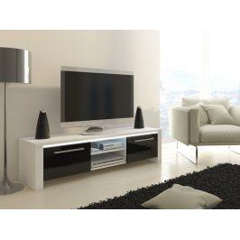 TV stolek HELIX, bílá/černý lesk