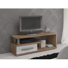 MORAVIA FLAT ANGEL TV stolek 1D, dub sonoma/bílý lesk