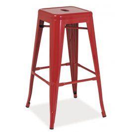 Barová kovová židle LONG, červená