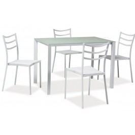 Smartshop Jídelní set KENDO 1+4 se skleněným stolem, bílá