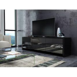 FOX televizní stolek, černá/černý lesk