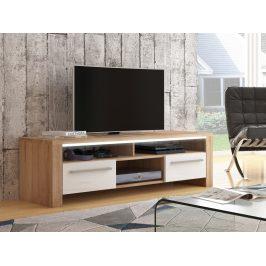 ROCKY televizní stolek, dub sonoma/bílý lesk