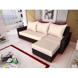 Rohová sedačka MALAGA BIS 3, béžová látka/hnědá ekokůže
