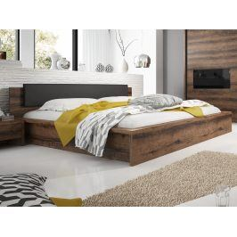 Smartshop INDIRA postel s roštem a úložným prostorem 160x200 cm TYP 51, dub monastery/černá