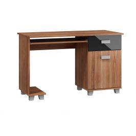 PC stůl se zásuvkou a skříňkou SOLO, SOL-01, švestka wallis/černý lesk