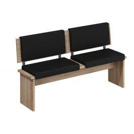 BOND, lavice velká, dub sonoma sv./černá ekokůže