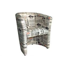 Křeslo CUBA, látka potisk noviny