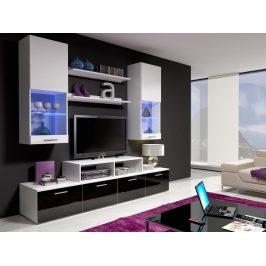 Obývací stěna MINI II s LED osvětlením, bílá/bílý lesk + černý lesk
