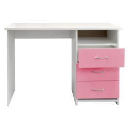 Psací stůl 44, bílá/růžová Psací stoly