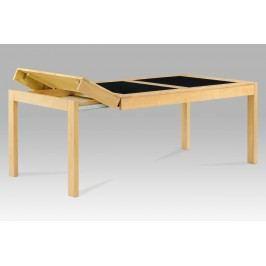 Autronic Jídelní stůl rozkládací 160+40+40x90 cm, barva buk / černé sklo