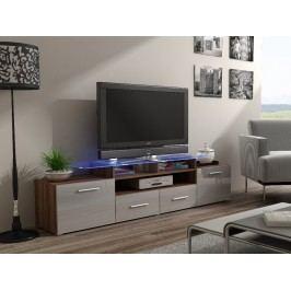 CAMA Televizní stolek RTV EVORA, švestka/šedý lesk