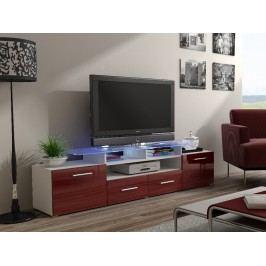 CAMA Televizní stolek RTV EVORA, bílá/bordo lesk