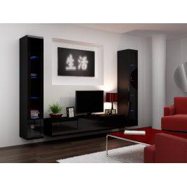 Obývací stěna VIGO 5, černá/černý lesk