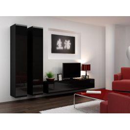 Obývací stěna VIGO 4 A, černá/černý lesk