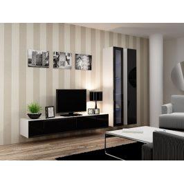 Obývací stěna VIGO 3, bílá/černý lesk