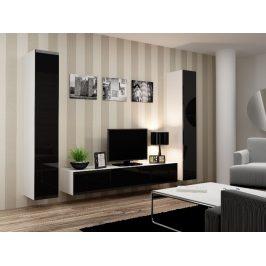 Obývací stěna VIGO 4 B, bílá/černý lesk