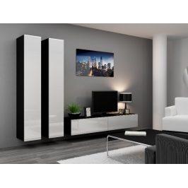Obývací stěna VIGO 4 A, černá/bílý lesk