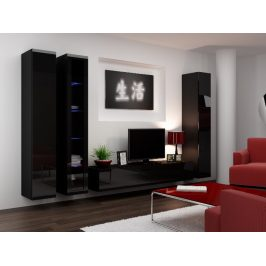 Obývací stěna VIGO 2 A, černá/černý lesk