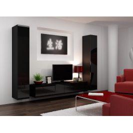 Obývací stěna VIGO 4 B, černá/černý lesk