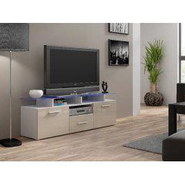 Televizní stolek RTV EVORA MINI, bílá/krémový lesk