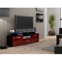 Televizní stolek RTV EVORA MINI, černá/bordo lesk