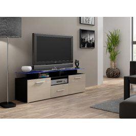 Televizní stolek RTV EVORA MINI,černá/krémový lesk Stolky pod TV