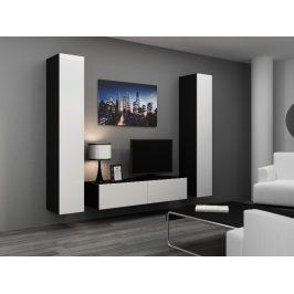 Obývací stěna VIGO 9, černá/bílý lesk