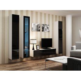 Obývací stěna VIGO 15, bílá/černý lesk