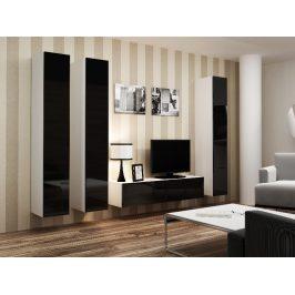 Obývací stěna VIGO 14, bílá/černý lesk