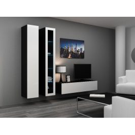 Obývací stěna VIGO 10, černá/bílý lesk