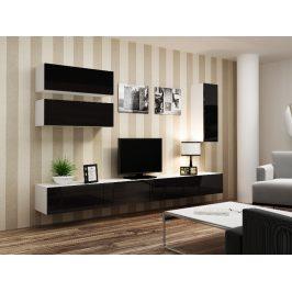 Obývací stěna VIGO 13, bílá/černý lesk