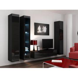 Obývací stěna VIGO 15, černá/černý lesk