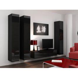 Obývací stěna VIGO 14, černá/černý lesk