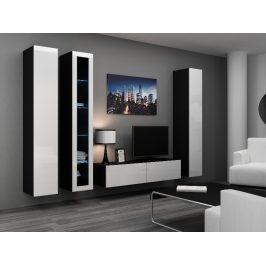 Obývací stěna VIGO 15, černá/bílý lesk
