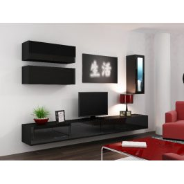 Obývací stěna VIGO 12, černá/černý lesk