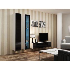 Obývací stěna VIGO 10, bílá/černý lesk