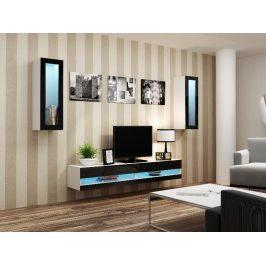 Obývací stěna VIGO NEW 11, bílá/černý lesk