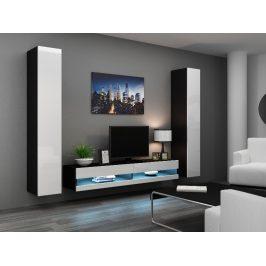 Obývací stěna VIGO NEW 4, černá/bílý lesk