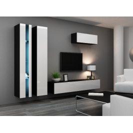 Obývací stěna VIGO NEW 1, černá/bílý lesk