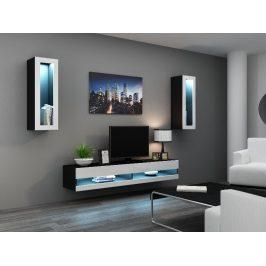 Obývací stěna VIGO NEW 11, černá/bílý lesk