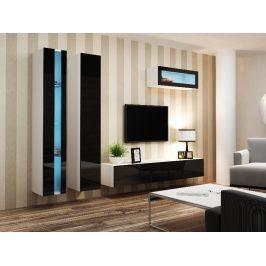 Obývací stěna VIGO NEW 2, bílá/černý lesk