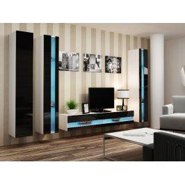 Obývací stěna VIGO NEW 6, bílá/černý lesk