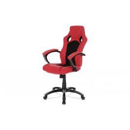 Kancelářská židle KA-N157 RED,  koženka červená/mesh černá