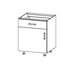 EDAN dolní skříňka D1S 60 SMARTBOX, korpus šedá grenola, dvířka bílá canadian