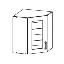 Smartshop TAFNE horní skříňka GNWU vitrína - rohová, korpus šedá grenola, dvířka béžový lesk
