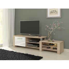 TV stolek ORION, dub sonoma/bílý lesk