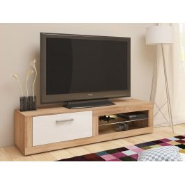 MORAVIA FLAT TV stolek VIKY NEW, dub sonoma/bílý lesk